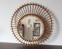 Miroir en rotin années 60