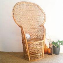 Grand fauteuil Emmanuelle rotin vintage