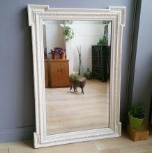 Grand miroir biseauté ancien patine blanche d'origine