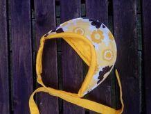 Visière Vintage jaune à fleurs