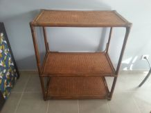 Gros meuble étagère vintage rotin bambou