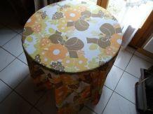 Nappe a fleurs ronde jaune/orange vintage