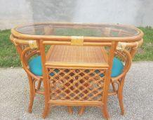 Table chaises rotin
