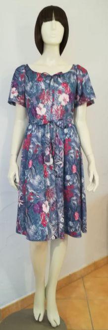 Robe vintage 70ies taille 38 40 fond gris motif fleurs exotiques et ibiscus