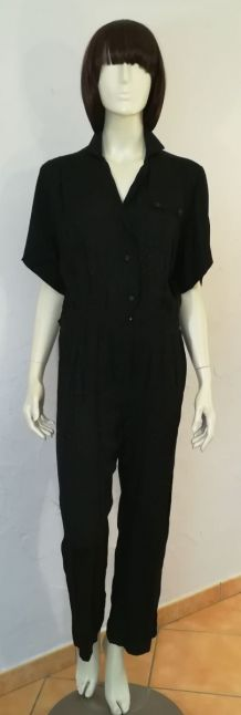 Combinaison pantalon vintage 80ies taille 38 noire motif gouttelettes noir