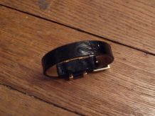 Bracelet Ceinture Cuir Noir effet Autruche et Metal Doré- RENOMA