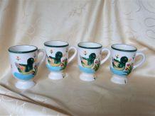 Mazagrans vintage - Décor relief canard peint mains.