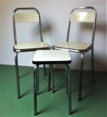 Ensemble chaises et tabourets formica vintage