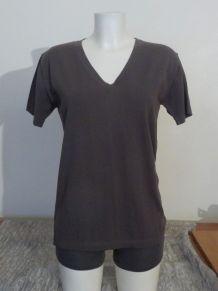 Tee Shirt 100% Coton Kaki Manches Courtes Col V- Superfine