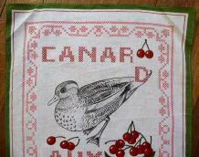 Torchon en Coton Broder Avec Un Canard-Neuf