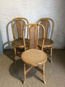 3 chaises rotin et bambou vintage