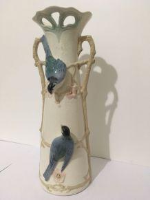 Vase mésanges bleues en céramique craquelée