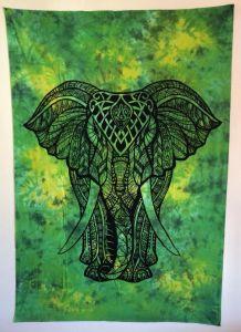 Tenture Indienne Éléphant Verte
