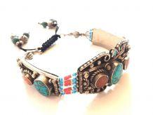 Bracelet Ethnique Indien Turquoise