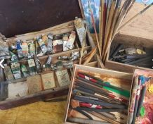 Lot ancien matériel deco peinture