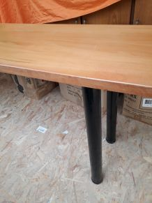 2 consoles bois massifacier noir satine vernis, pied reglabl