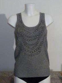 Top / Tee Shirt Sans Manche Gris Clair Avec Strass- Taille U