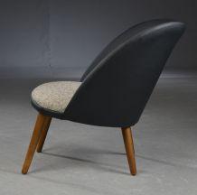fauteuil en cuir, laine & hêtre