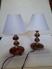 duo de petites lampes de chevet en marbre