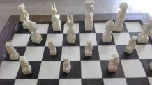 jeu echecs en ivoire et bois ebenne