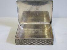 Coffret, boite à bijoux, vide poche en métal argenté, fineme