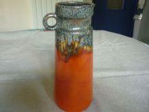Pichet en ceramique vintage orange,coulures gris marron