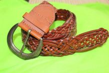 ceinture cuir tresse marron vintage/retro TU