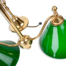 Lustre Billard vintage, deux lampes à opaline verte