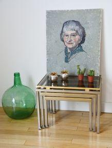 Lot 3 tables gigognes Maison Jansen par Guy Lefèvre 1970