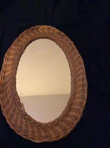 Miroir ovale rotin