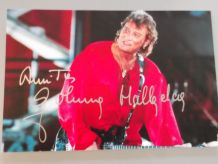 "Autographe (dédicacé) ""AMITIES Johnny Hallyday"" parc des pri"
