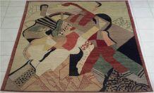 Tapis 200x220 UNIQUE fait main Etat neuf Tableau Cubiste