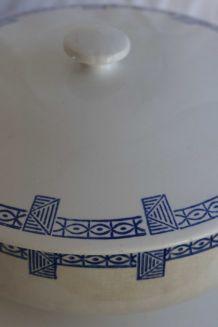 soupière bleue de gien décor art déco