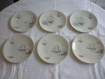 6 assiettes porcelaine Limoges Raynaud decor voiliers