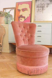 Fauteuil crapaud velours vintage rose poudré 1950's
