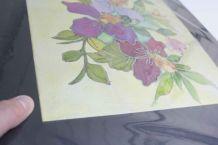 tableau peinture sur soie fleurs