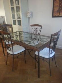table + chaises + console