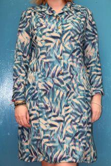 robe droite manche longue motif feuille TM/38-40 vintage