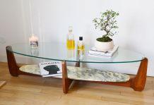 Table basse verre et marbre Hugues Poignant 1960