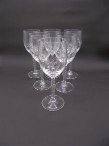 Série de 6 verres à pied en cristal