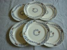 6 assiettes plate faience longchamp
