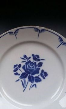 Assiette ancienne fleur rose bleue