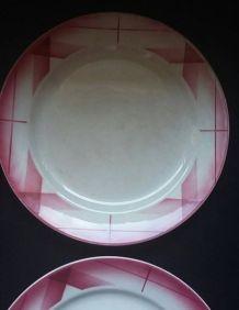 4 assiettes à desserts anciennes Sarreguemines Artix