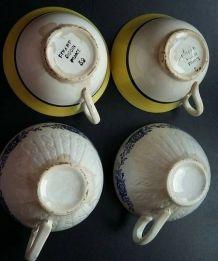 4 tasses faïence anciennes