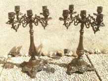 paire de chandelliers 5 branches en régule , ancien