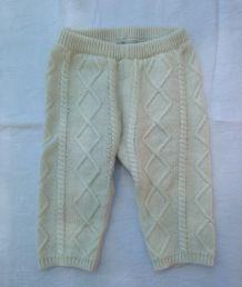 Pantalon en laine crème Natalys 9 mois