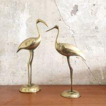 Couple oiseaux en laiton