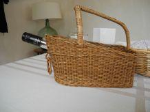 Porte-bouteille ou repose-bouteille en osier Vintage années