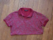 Polo 95% Coton Rouge Motifs Gris Devant-XL- Paul Fredy