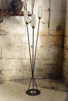 Lampadaire de salon à 3 branches vintage